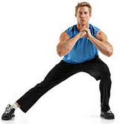 Starting with your legs slightly wider than shoulder width, squat down towards one leg so that your weight is on one leg. Keep your knee and hip in a straight line and your back flat. Alternate sides for 2x15.
