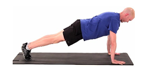 Starting in a plank position, push your shoulders up. Hold this position and tap one hand on the other 10x each. Repeat for 2 sets.