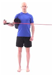 Standing with a small towel rolled up between our elbow and your side, pull out against a resistance band. Keep your elbow at a 90⁰ angle and your wrist straight. Repeat for 3x15.