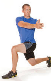 In a walking motion, lunge forward while keeping good control over your hips, knees, and back. Once into the lunge, twist each direction as far as you can go comfortable. Alternate each leg as you go.