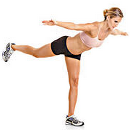 In a walking motion, keep your back flat and lean your trunk forward while lifting one leg up behind you. You can bring your arms out to the side to help with balance. Keep your back flat while you perform this stretch. If you cannot get to flat without bending through your back, go only as far as you can control.