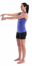 Use one hand to stretch the other, fingers up. You are looking for a stretch along the forearm. Hold 30 seconds.